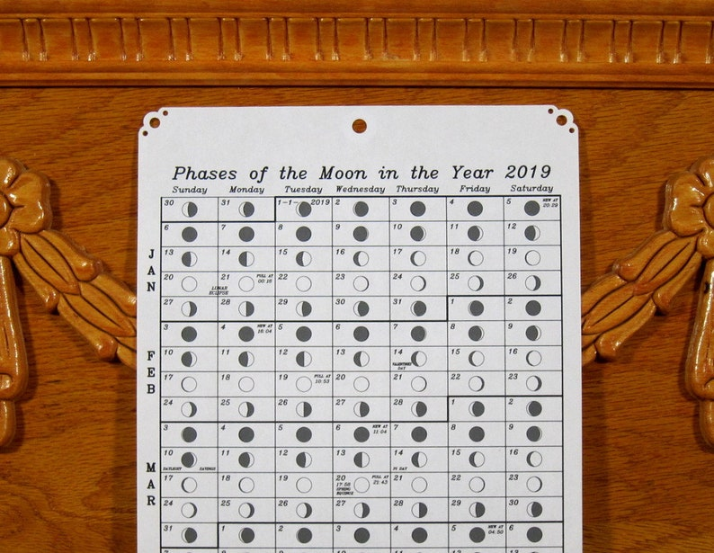 2019 Moon Phase Calendar Further discounted image 0