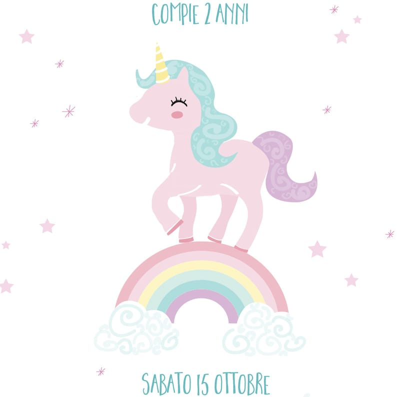 Compleanno A Tema Unicorno Invito In Formato Digitale Pdf Stampabile Party Kit Coordinato E Servizio Stampa Su Richiesta