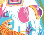 India Jungle Animals print, Tiger print, Elephant print, Tropical illustration, Botanical illustration, Jungle art, art for nursery, CMYK