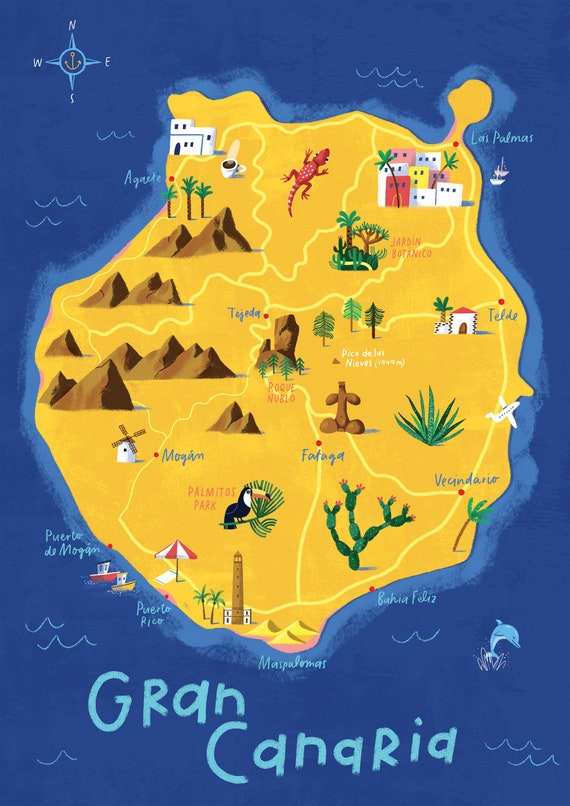 Map Of The Island Of Gran Canaria