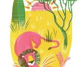 Lion original screenprint, Savanna silkscreen print, original art, print for nursery, Animal print, Africa print, African animals