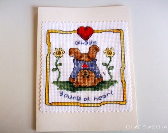 Young Bear Greeting Card - Cross-Stitch Greeting Card - Valentine Greeting Card