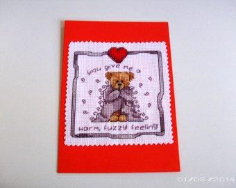 Fuzzy Bear Greeting Card - Cross-Stitch Greeting Card - Valentine Greeting Card