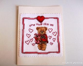 Hug Bear Greeting Card - Cross-Stitch Greeting Card - Valentine Greeting Card