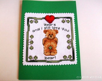 Years Bear Greeting Card - Cross-Stitch Greeting Card - Valentine Greeting Card