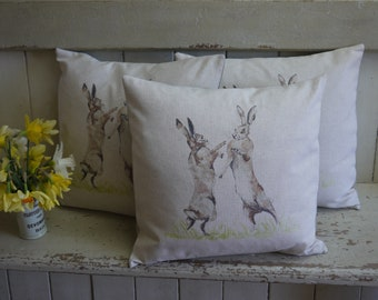 Luxury Handmade Cushion - Boxing Hares Pillow - Feather Filled Cushion - Rabbit Pillow - Hare Cushion - Living Room Cushions - Cushions