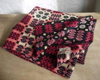 Stunning Large Vintage Welsh Blanket - Black Orange Yellow White Colour way - Welsh Tapestry Blanket - Welsh Wool Blanket - Large Size