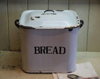 Vintage Enamel Bread Bin - Enamel Bread Box - White Enamel Bread Bin - English Enamel Bread Box - White Bread Bin - Vintage Bread Box