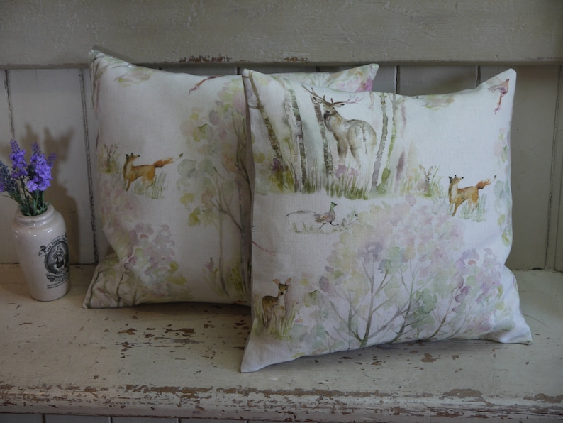 Luxury Cushion Enchanted Forest Pillow Feather Filled Cushion Living Room Cushions Deer Cushion Country Cushion Woodland Cushion