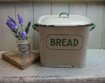 Rare Pastel Green & Cream Vintage Enamel Bread Box - Bread Bin