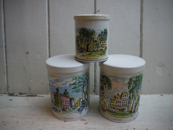 Set Of Three Kitchen Canisters Vintage Canisters Trio Of Etsy