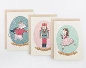 Nutcracker Christmas Card Set of 3