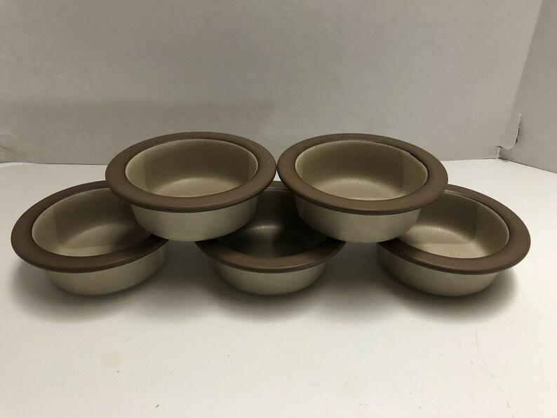 "Set of 5 Edith Heath Ceramics Pottery 5 25"" Dessert Berry Bowls Birch Rim  Tan Brown Stoneware"