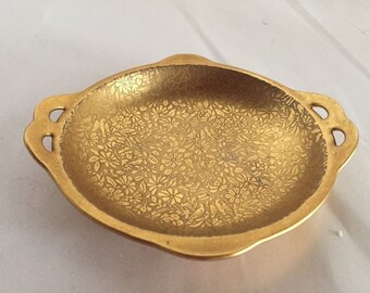 Wheeling Glass  and  China Gold Overlay Handled But Bowl Dish Flowers