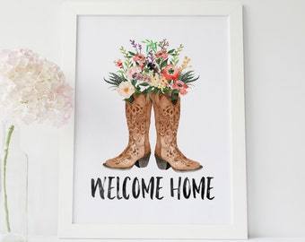 welcome home printable · tribal home decor · country western wall art · cowboy boot print · rustic home wall decor · watercolor floral art
