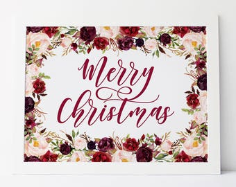 merry christmas printable · calligraphy christmas print · christmas decor print · merry christmas sign · christmas florals · holiday sign