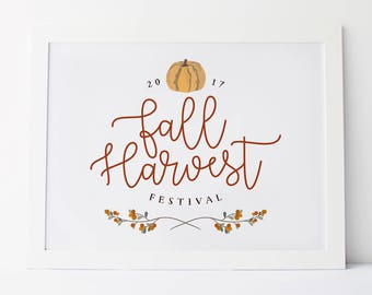 retro fall festival printable · fall harvest · vintage fall sign · autumn harvest decor · pumpkin festival · fall festival 2017 · fall decor