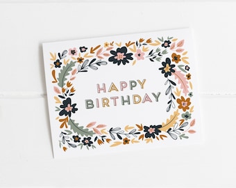 floral happy birthday frame a2 greeting card pack of birthday cards birthday party card birthday card for her flower birthday card - Birthday Card Packs