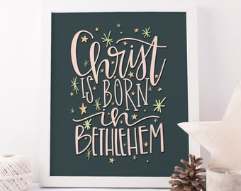 christ is born in bethlehem printable · hand lettered print · hark the herald angels sing · christian christmas decor · christmas wall art