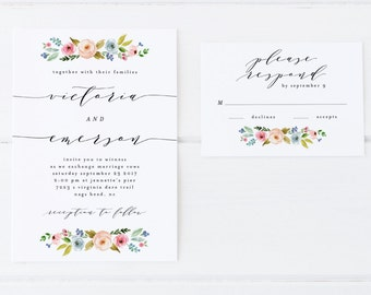 digital printable wedding suite 'blossoming' · watercolor floral wedding set · spring, summer wedding invitation · calligraphy invitation