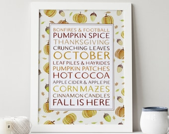 fall subway art printable · fall print · autumn wall decor · fall leaves · autumn decor · pumpkin decor · watercolor acorns · fall wall art