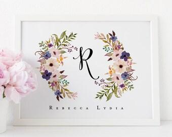 floral monogram printable · initial print · name art print · monogram art · floral wreath · nursery name art print · nursery wall decor