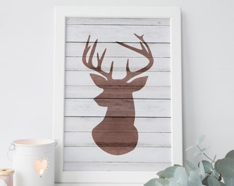 venados de madera impresión · ciervos de pared arte · rústico para imprimir · dificultades pared madera decoración · bosque impresión · asta arte · decoración para el hogar · arte de la decoración de venado