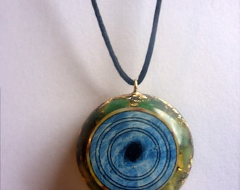 ORGONE PENDANT The Power Of Fusion Art With Black Hole And Green Semi-Precious Gemstones