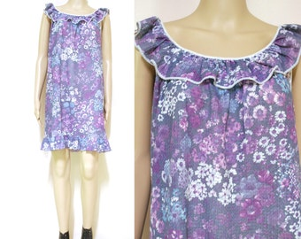 Vintage 70s Floral Dress Retro Print Boho Ruffled Collar Purple Hippie Tent Short Length Vtg 1970s Size M-L