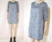 80s Metallic Floral Shift Dress Short Length Vintage Grey Eighties Sheer 3 4 Sleeves Vtg S-M Medium