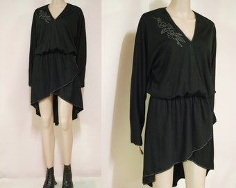70s Vintage Dress A Symmetrical Mini Length Seventies Layered Embroidered Black Evening Vtg 1970s Size S-M