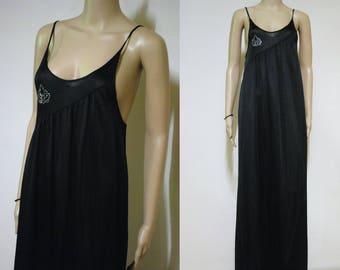 7582c2080921 90s Black Slip Dress Semi Sheer Lingerie Vintage Grunge Long Maxi Length  Boho Hippie Sequins Vtg 1990s Size XXS-XS