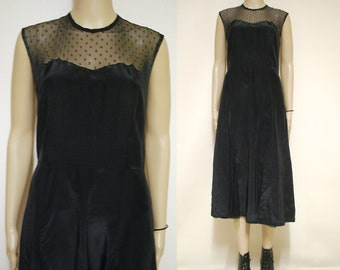 Black Sheer Lace Mesh Dress Mid Length 70s Vintage Goth Grunge Nineties Retro Vtg 1970s Size S-M Small Medium