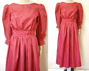 5b03bfadd79 80s Maroon Prom Dress Vintage Bridesmaid Kitsch Puff Sleeve Taffeta Mid  Length Grad Party Dress Retro Eighties VTG 1980s Size S