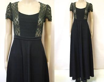 26ef0481904c 70s Black Lace Dress Vintage Long Maxi Length Retro Short Sleeves Boho  Hippie Scoop Neckline Seventies VTG 1970s Size S