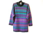80s Colourful Turtleneck Jumper Vintage Knitted Sweater Kitsch Cosby Retro Eighties Hipster Grunge Geek Vtg 1980s Size M-L