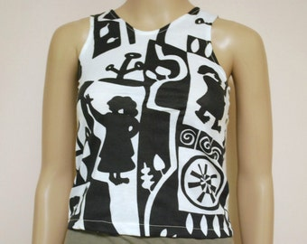 a2d5439dc8e 80s Picasso Black and White Tank Top Vintage Crop Tee Singlet Kawaii  Abstract Retro Kitsch Boho Hippie Vtg 1980s Size XXS
