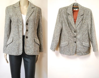 24694d35158810 70s Wool Tailored Tweed Jacket Vintage Tweed Suit Coat Retro Blazer  Seventies Button Down Front Fully Lined Overcoat VTG 1970s Size S-M