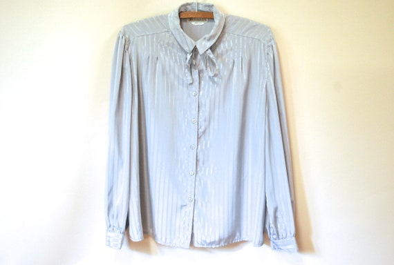 80s Grey Striped Pussy Bow Blouse, Vintage Long Sl