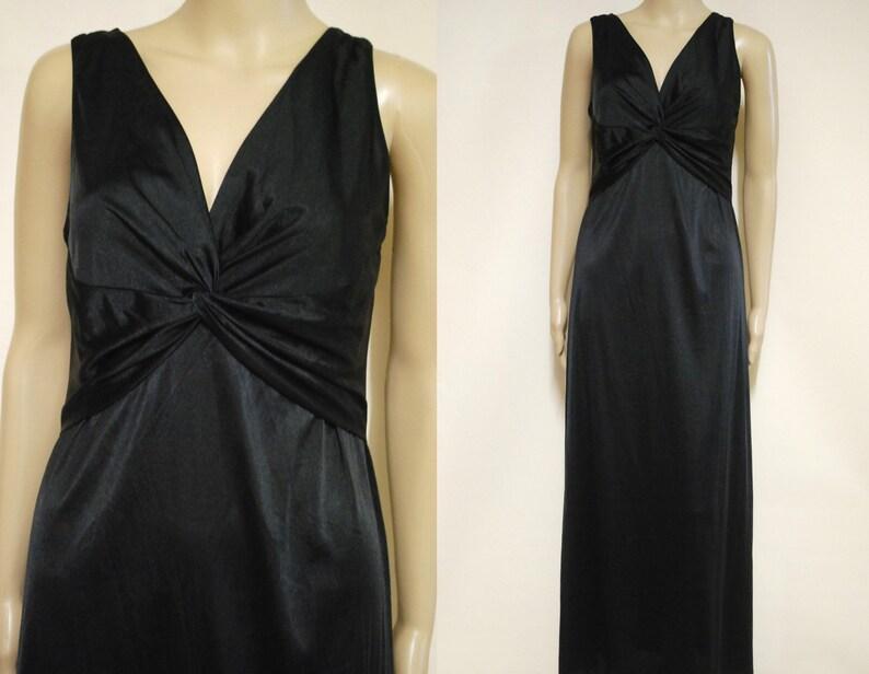 7297f700e8d6 90s Black Slip Dress Smooth Satin Lace Back Long Ankle Length | Etsy