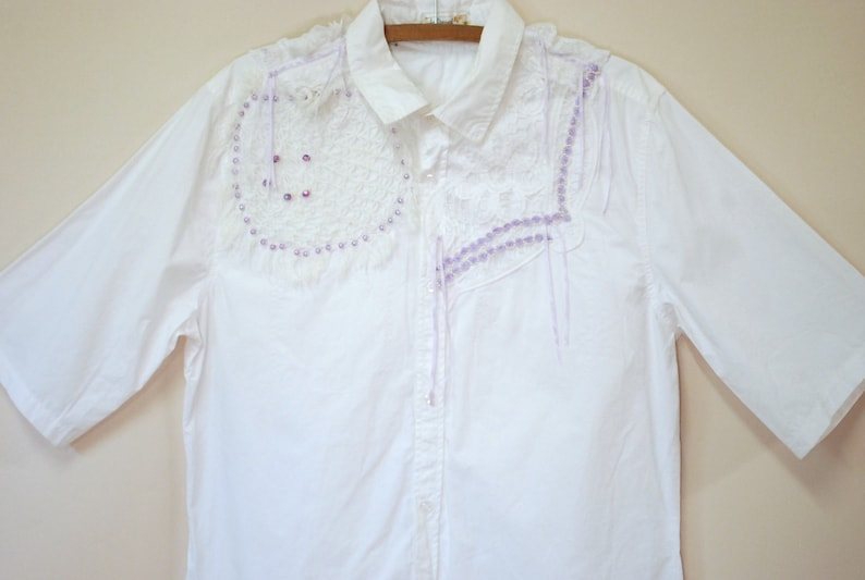 80s White Lace Embroidered Avant Garde Shirt Vintage Blouse with Ribbons Eighties Blouse Cut Out Kitsch Top VTG 1980s L