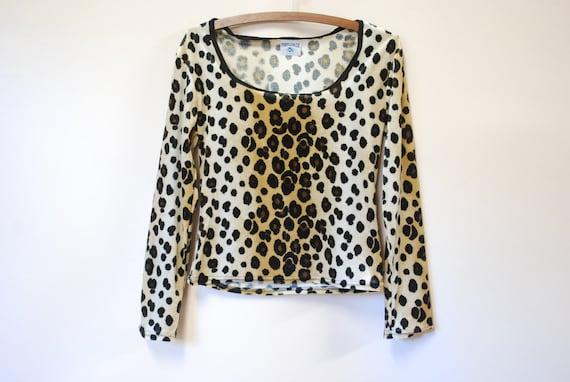 90s Velvet Leopard Print Top XL 1990s Long Sleeve
