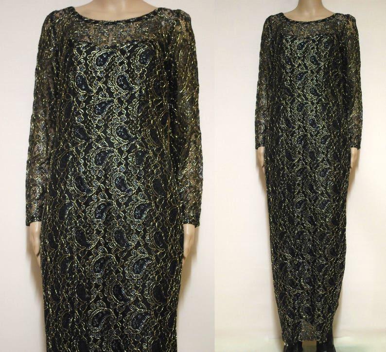 f46d98a8b 90s Metallic Lace Dress 1990s Vintage Black Gold Low Back Vtg | Etsy