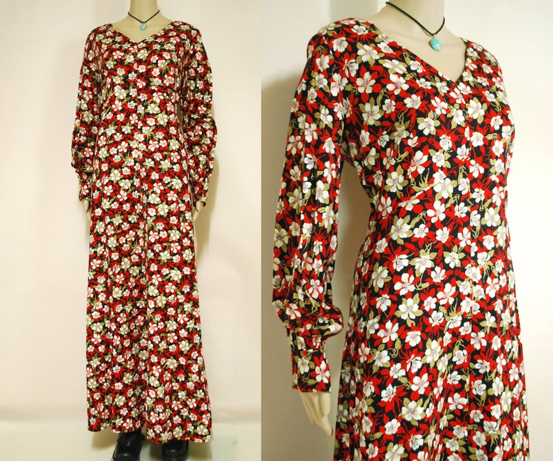 3b3053d57d 70s Red Floral Maxi Dress French Cuff Puff Sleeves Seventies | Etsy