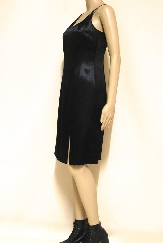Vintage Evening Wear Short Length Fashion Designer Collectable VTG 1990s Size XS 90s Black Satin Studibaker Hawk Dress