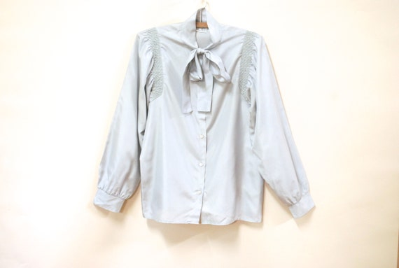 80s Pale Grey Pussy Bow Blouse, Vintage Puff Sleev