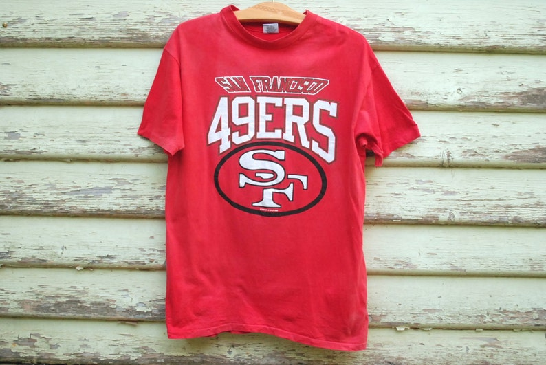91106dbd8 90s 49ers NFL T Shirt Vintage Faded Mens Tee San Francisco Red