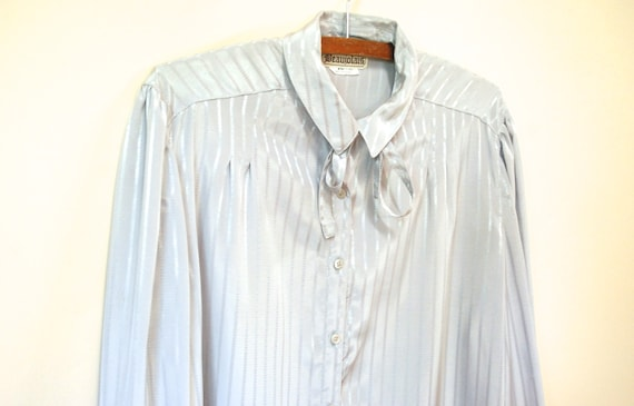 80s Grey Striped Pussy Bow Blouse, Vintage Long S… - image 5
