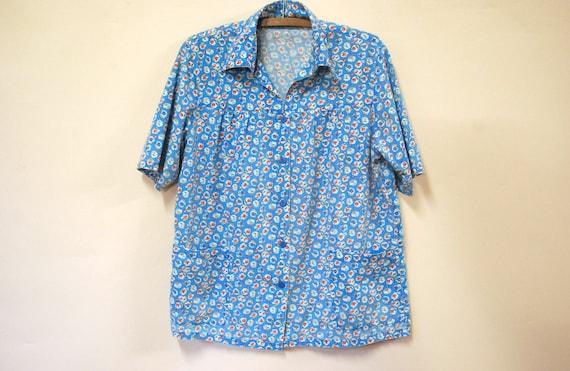 80s Oversized Blue Carnation Floral Hipster Shirt,