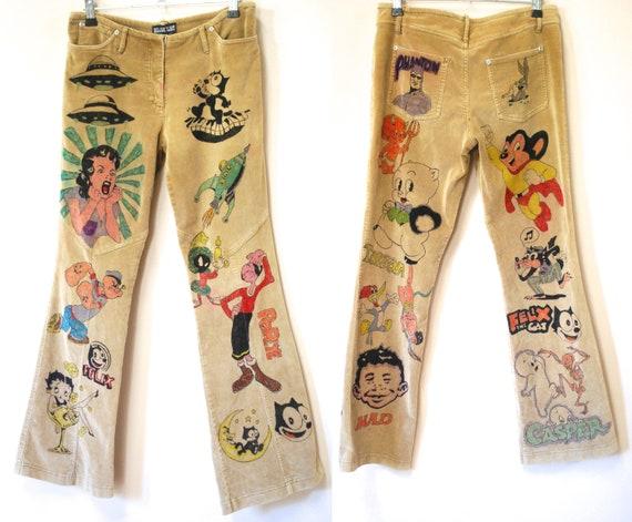Hand Drawn Senior Cords Inspired Corduroy Pants, C